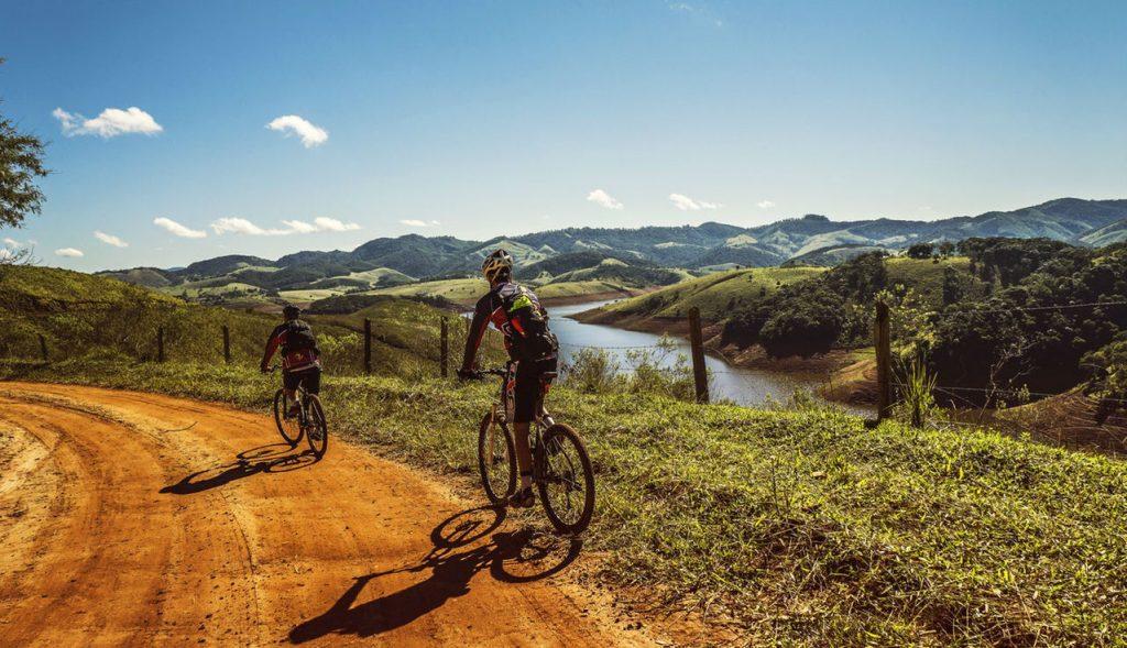 Biking through British countryside